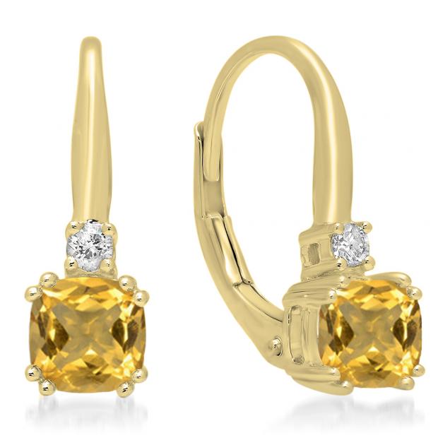 1.05 Carat (ctw) 10K Yellow Gold Cushion Cut Citrine & Round Cut White Diamond Ladies Dangling Drop Earrings 1 CT