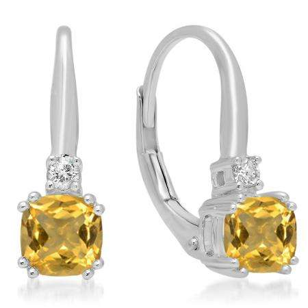 1.05 Carat (ctw) 18K White Gold Cushion Cut Citrine & Round Cut White Diamond Ladies Dangling Drop Earrings 1 CT
