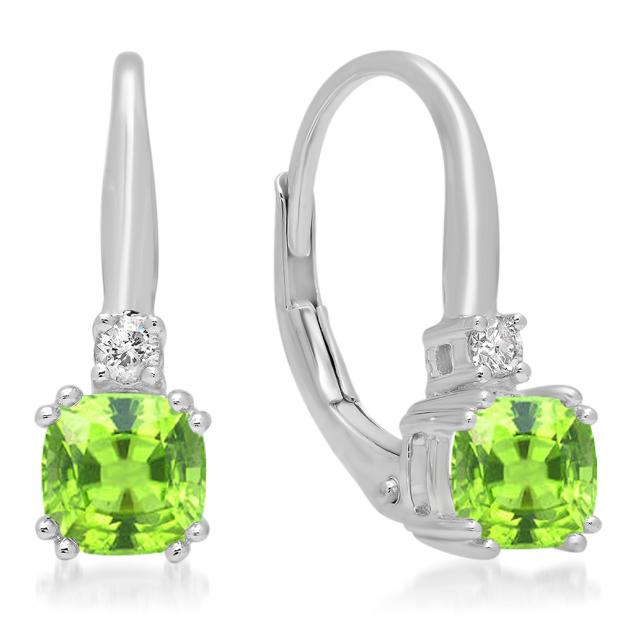 1.05 Carat (ctw) 14K White Gold Cushion Cut Peridot & Round Cut White Diamond Ladies Dangling Drop Earrings 1 CT