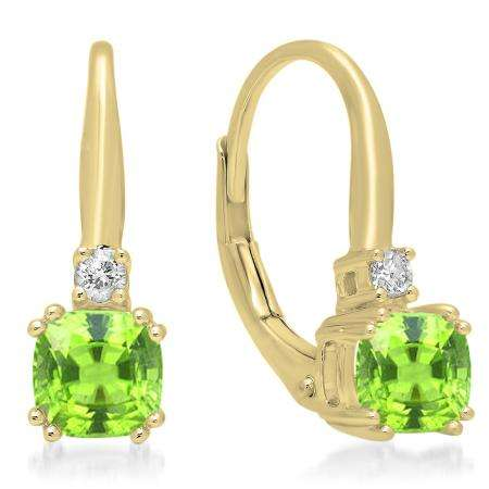 1.05 Carat (ctw) 14K Yellow Gold Cushion Cut Peridot & Round Cut White Diamond Ladies Dangling Drop Earrings 1 CT