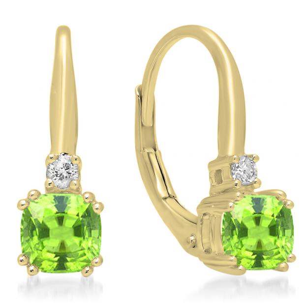 1.05 Carat (ctw) 18K Yellow Gold Cushion Cut Peridot & Round Cut White Diamond Ladies Dangling Drop Earrings 1 CT