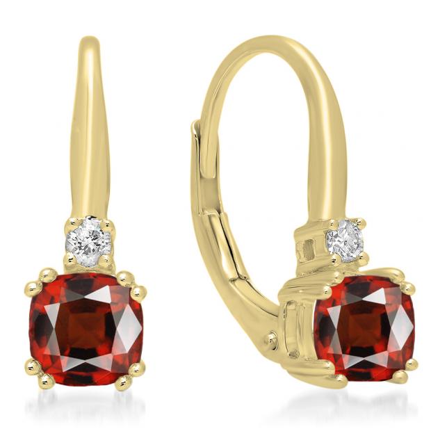 1.05 Carat (ctw) 10K Yellow Gold Cushion Cut Garnet & Round Cut White Diamond Ladies Dangling Drop Earrings 1 CT