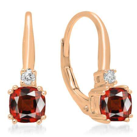 1.05 Carat (ctw) 18K Rose Gold Cushion Cut Garnet & Round Cut White Diamond Ladies Dangling Drop Earrings 1 CT