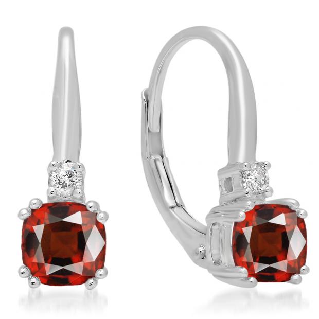 1.05 Carat (ctw) 18K White Gold Cushion Cut Garnet & Round Cut White Diamond Ladies Dangling Drop Earrings 1 CT