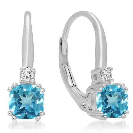 1.05 Carat (ctw) 14K White Gold Cushion Cut Blue Topaz & Round Cut White Diamond Ladies Dangling Drop Earrings 1 CT