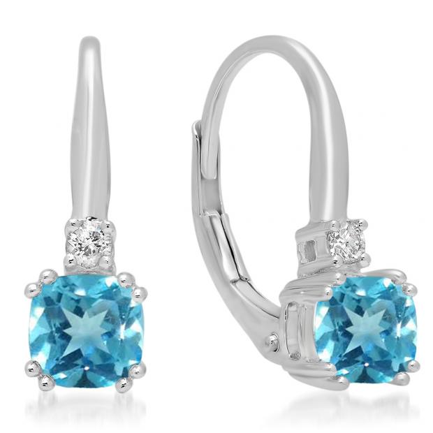 1.05 Carat (ctw) 18K White Gold Cushion Cut Blue Topaz & Round Cut White Diamond Ladies Dangling Drop Earrings 1 CT