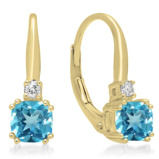1.05 Carat (ctw) 18K Yellow Gold Cushion Cut Blue Topaz & Round Cut White Diamond Ladies Dangling Drop Earrings 1 CT