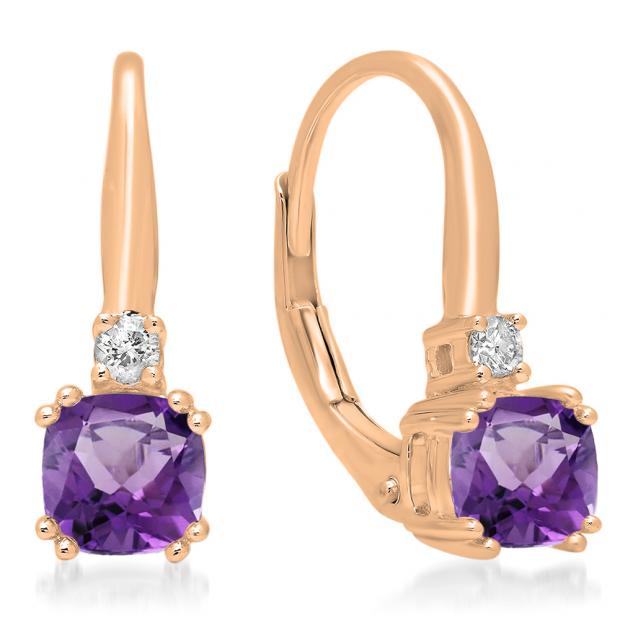 1.05 Carat (ctw) 10K Rose Gold Cushion Cut Amethyst & Round Cut White Diamond Ladies Dangling Drop Earrings 1 CT
