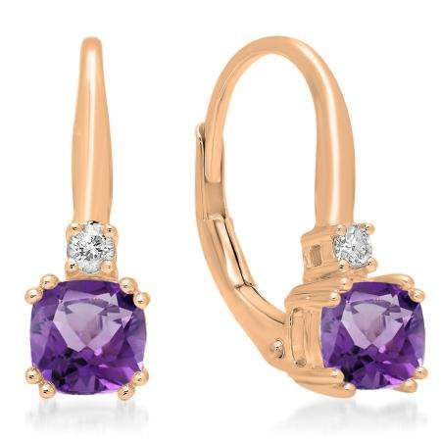 1.05 Carat (ctw) 14K Rose Gold Cushion Cut Amethyst & Round Cut White Diamond Ladies Dangling Drop Earrings 1 CT