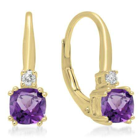 1.05 Carat (ctw) 14K Yellow Gold Cushion Cut Amethyst & Round Cut White Diamond Ladies Dangling Drop Earrings 1 CT