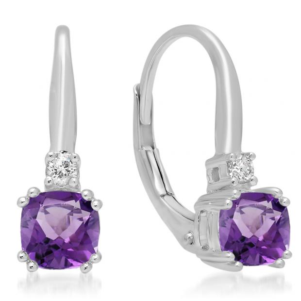 1.05 Carat (ctw) 18K White Gold Cushion Cut Amethyst & Round Cut White Diamond Ladies Dangling Drop Earrings 1 CT
