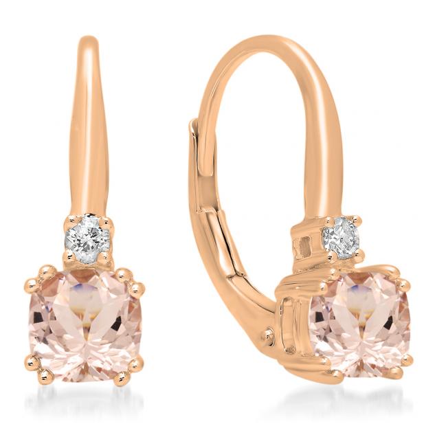 1.05 Carat (ctw) 10K Rose Gold Cushion Cut Morganite & Round Cut White Diamond Ladies Dangling Drop Earrings 1 CT
