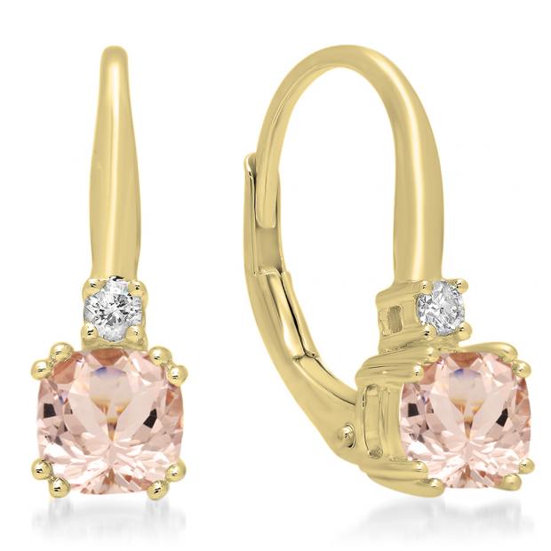 1.05 Carat (ctw) 18K Yellow Gold Cushion Cut Morganite & Round Cut White Diamond Ladies Dangling Drop Earrings 1 CT