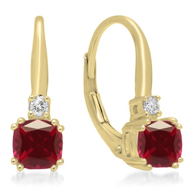 1.05 Carat (ctw) 10K Yellow Gold Cushion Cut Ruby & Round Cut White Diamond Ladies Dangling Drop Earrings 1 CT