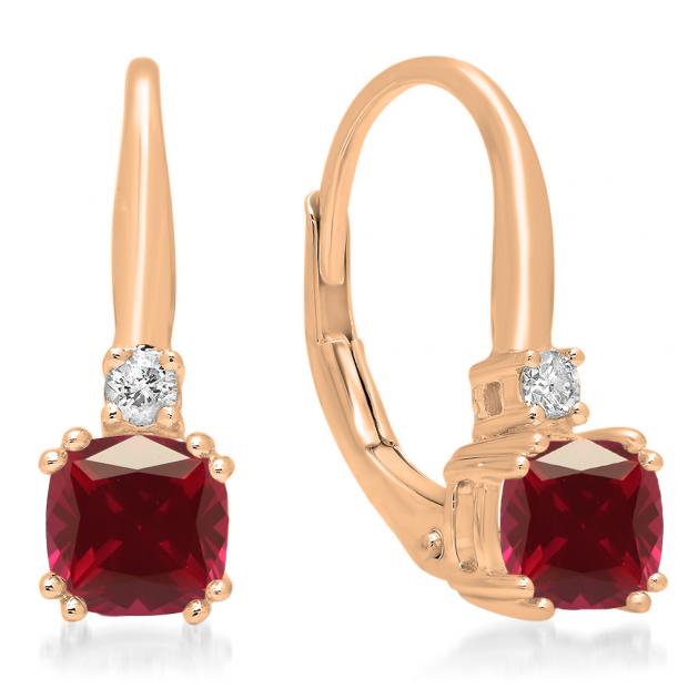 1.05 Carat (ctw) 18K Rose Gold Cushion Cut Ruby & Round Cut White Diamond Ladies Dangling Drop Earrings 1 CT