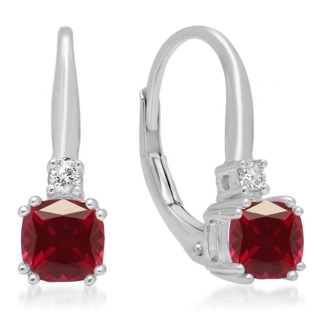 1.05 Carat (ctw) 18K White Gold Cushion Cut Ruby & Round Cut White Diamond Ladies Dangling Drop Earrings 1 CT