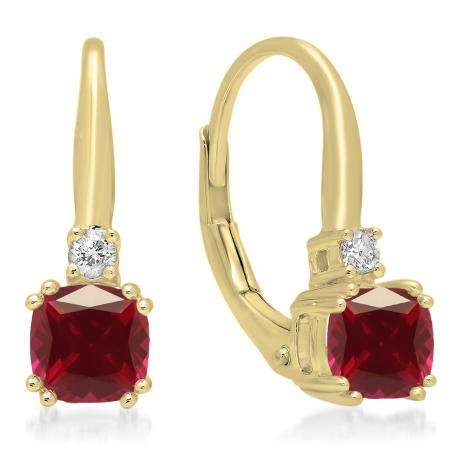 1.05 Carat (ctw) 18K Yellow Gold Cushion Cut Ruby & Round Cut White Diamond Ladies Dangling Drop Earrings 1 CT