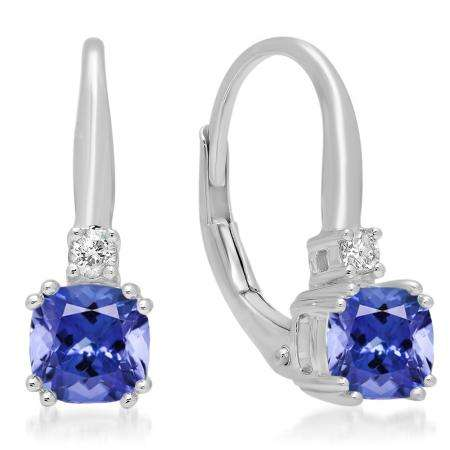 1.05 Carat (ctw) 10K White Gold Cushion Cut Tanzanite & Round Cut White Diamond Ladies Dangling Drop Earrings 1 CT