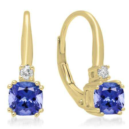 1.05 Carat (ctw) 14K Yellow Gold Cushion Cut Tanzanite & Round Cut White Diamond Ladies Dangling Drop Earrings 1 CT
