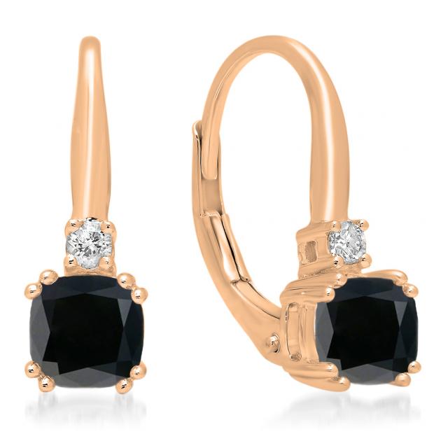 1.05 Carat (ctw) 10K Rose Gold Cushion Cut Black Diamond & Round Cut White Diamond Ladies Dangling Drop Earrings 1 CT