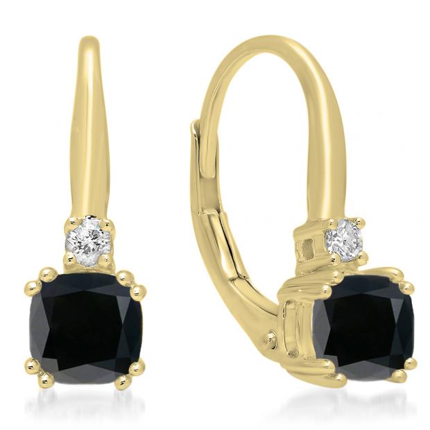 1.05 Carat (ctw) 14K Yellow Gold Cushion Cut Black Diamond & Round Cut White Diamond Ladies Dangling Drop Earrings 1 CT