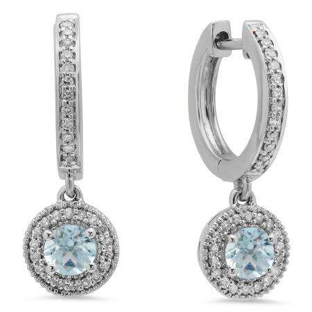 0.70 Carat (ctw) 14K White Gold Round Aquamarine & White Diamond Ladies Halo Style Dangling Drop Earrings 3/4 CT
