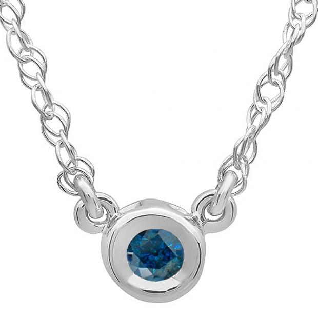 0.25 Carat (ctw) 14K White Gold Round Blue Diamond Ladies Bezel Set Solitaire Pendant 1/4 CT