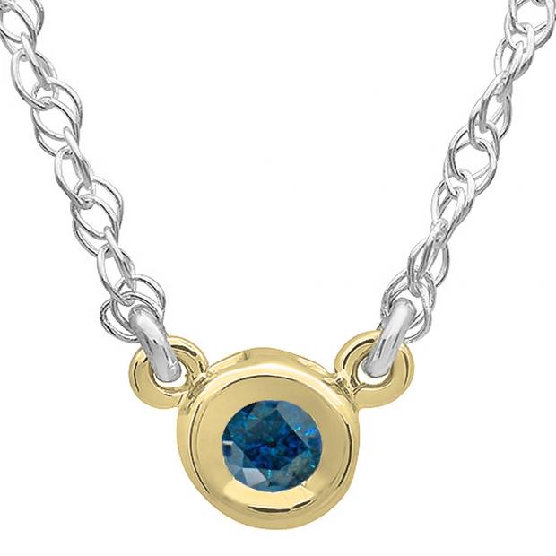 0.25 Carat (ctw) 14K Yellow Gold Round Blue Diamond Ladies Bezel Set Solitaire Pendant 1/4 CT