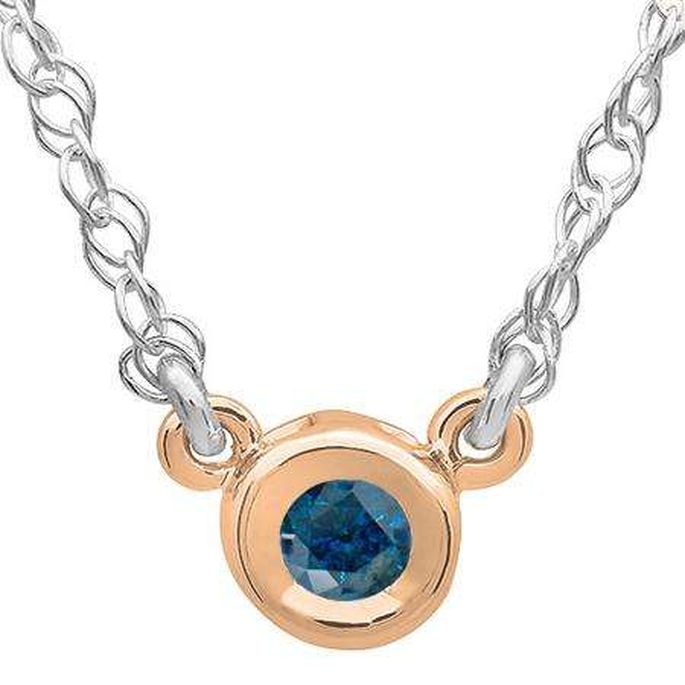 0.33 Carat (ctw) 14K Rose Gold Round Blue Diamond Ladies Bezel Set Solitaire Pendant 1/3 CT
