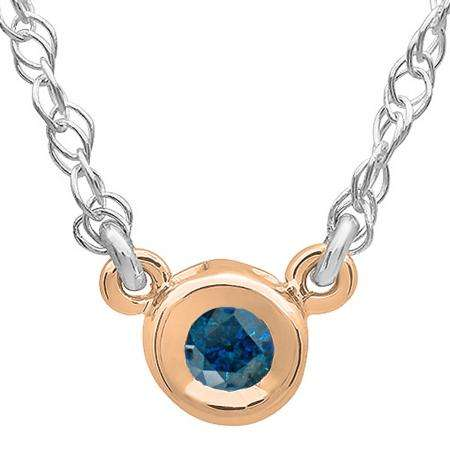 0.50 Carat (ctw) 14K Rose Gold Round Blue Diamond Ladies Bezel Set Solitaire Pendant 1/2 CT