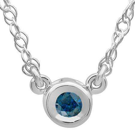 0.50 Carat (ctw) 14K White Gold Round Blue Diamond Ladies Bezel Set Solitaire Pendant 1/2 CT