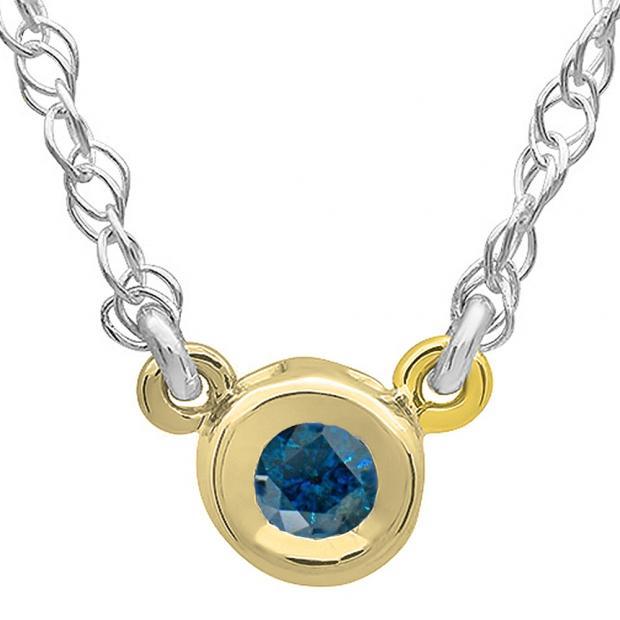 0.50 Carat (ctw) 14K Yellow Gold Round Blue Diamond Ladies Bezel Set Solitaire Pendant 1/2 CT