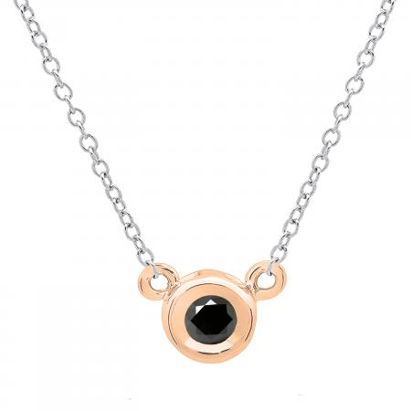 0.25 Carat (ctw) 14K Rose Gold Round Black Diamond Ladies Bezel Set Solitaire Pendant 1/4 CT