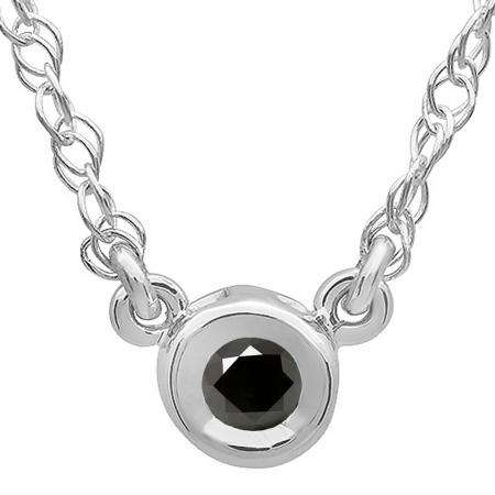 0.50 Carat (ctw) 14K White Gold Round Black Diamond Ladies Bezel Set Solitaire Pendant 1/2 CT