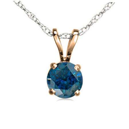 0.25 Carat (ctw) 14K Rose Gold Round Blue Diamond Ladies Solitaire Pendant 1/4 CT
