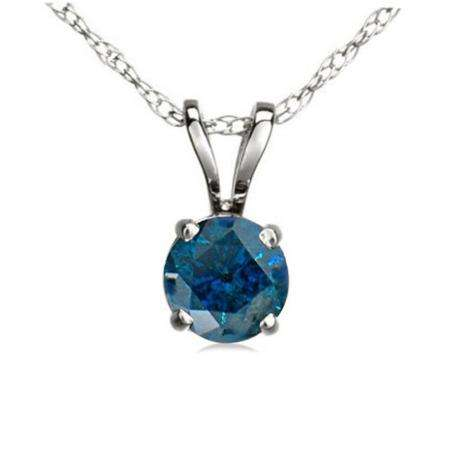 0.25 Carat (ctw) 14K White Gold Round Blue Diamond Ladies Solitaire Pendant 1/4 CT