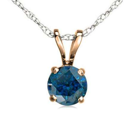 0.50 Carat (ctw) 14K Rose Gold Round Blue Diamond Ladies Solitaire Pendant 1/2 CT