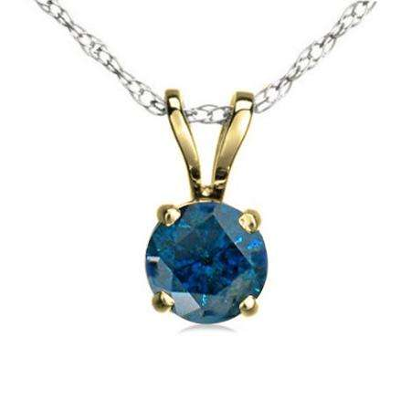 0.50 Carat (ctw) 14K Yellow Gold Round Blue Diamond Ladies Solitaire Pendant 1/2 CT