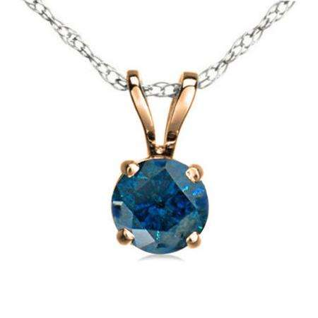 0.75 Carat (ctw) 14K Rose Gold Round Blue Diamond Ladies Solitaire Pendant 3/4 CT