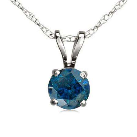 0.75 Carat (ctw) 14K White Gold Round Blue Diamond Ladies Solitaire Pendant 3/4 CT