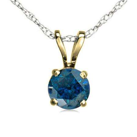 0.75 Carat (ctw) 14K Yellow Gold Round Blue Diamond Ladies Solitaire Pendant 3/4 CT