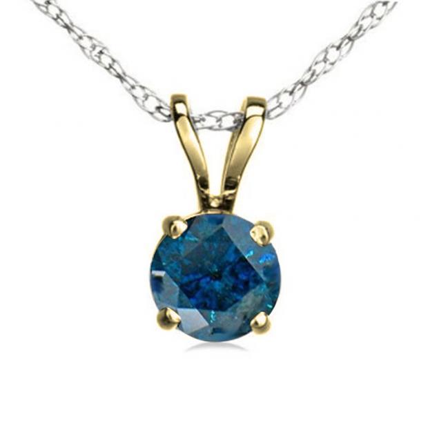 0.75 Carat (ctw) 14K Yellow Gold Round Blue Diamond Ladies Solitaire Pendant 3/4 CT
