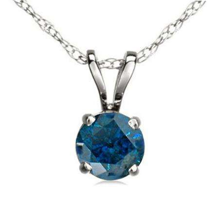 1.00 Carat (ctw) 14K White Gold Round Blue Diamond Ladies Solitaire Pendant 1 CT