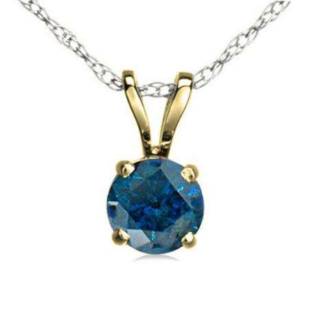 1.00 Carat (ctw) 14K Yellow Gold Round Blue Diamond Ladies Solitaire Pendant 1 CT