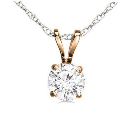 0.25 Carat (ctw) 14K Rose Gold Round White Diamond Ladies Solitaire Pendant 1/4 CT