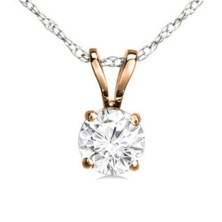 0.50 Carat (ctw) 10K Rose Gold Round White Diamond Ladies Solitaire Pendant 1/2 CT