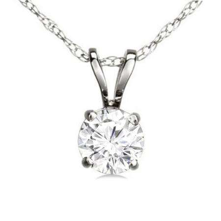 0.50 Carat (ctw) 14K White Gold Round White Diamond Ladies Solitaire Pendant 1/2 CT