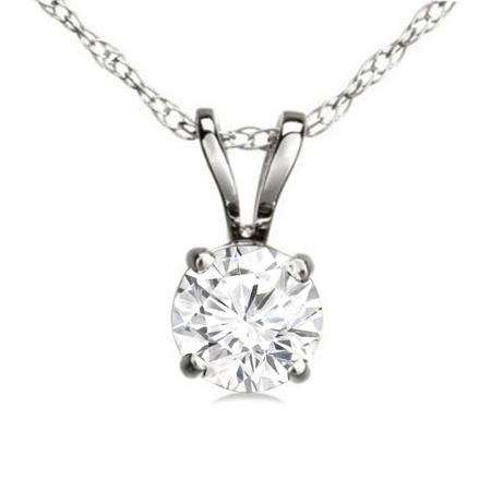 0.74 Carat (ctw) 14K White Gold Round White Diamond Ladies Solitaire Pendant 3/4 CT