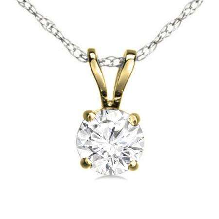 0.74 Carat (ctw) 14K Yellow Gold Round White Diamond Ladies Solitaire Pendant 3/4 CT