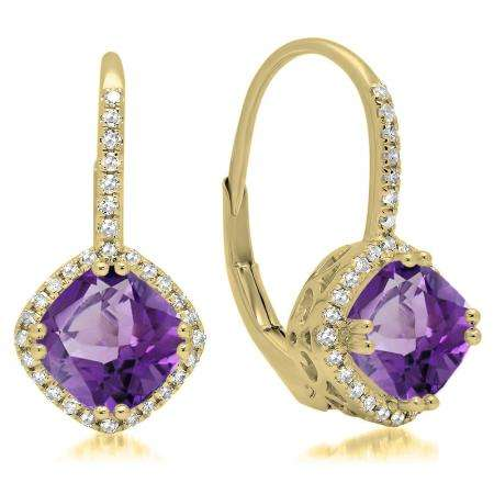 2.20 Carat (ctw) 10K Yellow Gold Cushion Cut Amethyst & Round Cut White Diamond Ladies Halo Style Dangling Drop Earrings